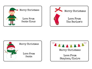 Personalised Christmas Mix Tree Present Gift Label Tag Address Stickers