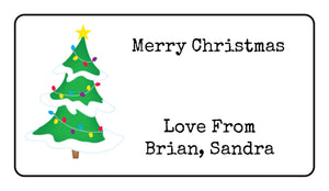 Personalised Christmas Tree Present Gift Label Tag Address Stickers