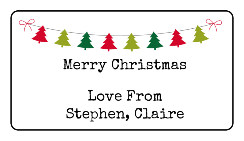 Personalised Tree Bunting Christmas Present Gift Label Tag Address Stickers