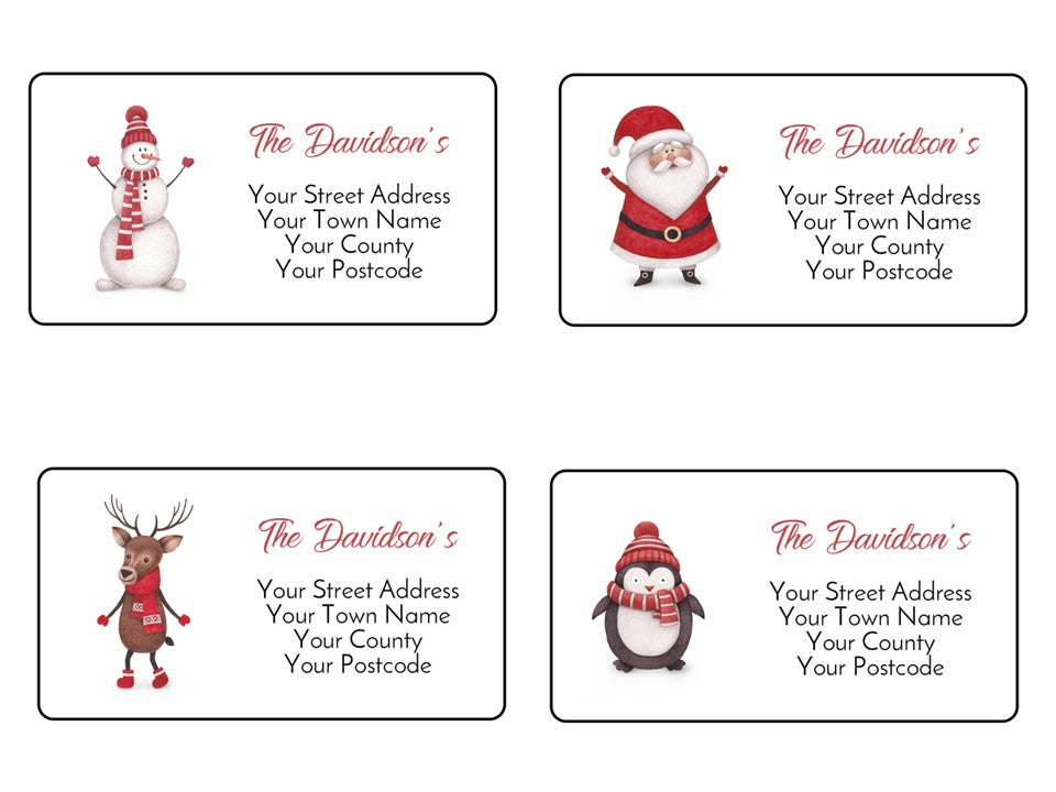 24 Personalised Christmas Card Stickers Address Labels