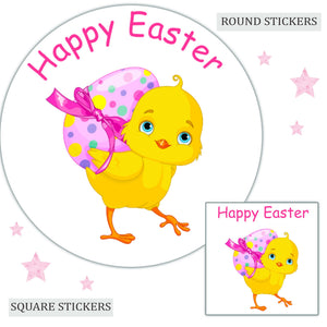 Personalised Happy Easter Chick Stickers