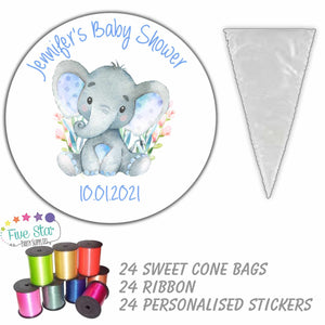 24 Personalised Baby Shower Sweet Cone Party Bag Stickers DIY Kit