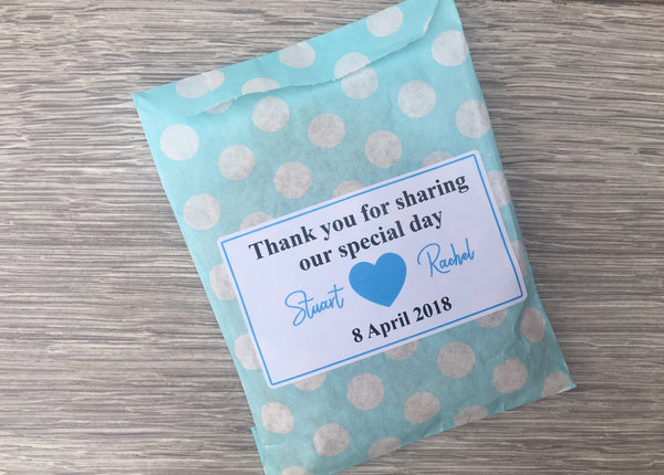 Personalised Wedding Favour Sweet Candy Cart Bags Polka Dot Design