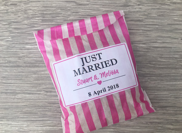 Personalised Wedding Favour Sweet Candy Cart Bags Stripes