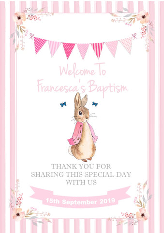 Personalised Peter Rabbit Christening Baptism Welcome Sign