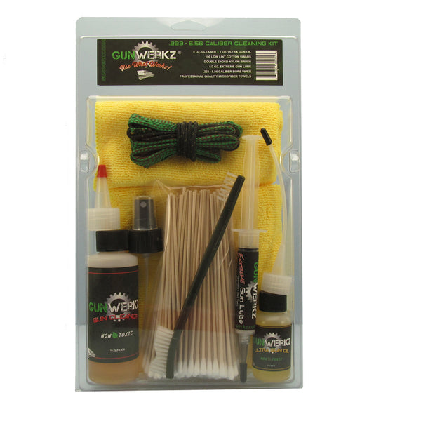 .22/.223/5.56 Caliber Cleaning Kit with cleaner, oil, brush, cotton swabs and microfiber towels