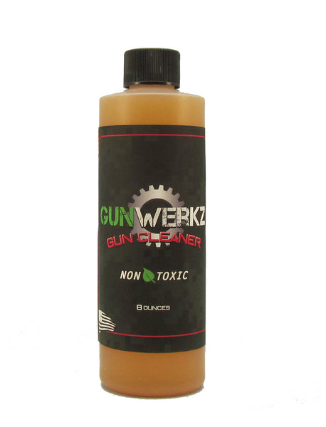 eight ounce bottle of gunwerkz non toxic gun cleaner