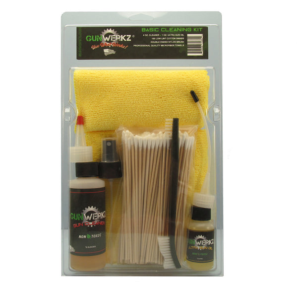 Basic cleaning kit with cleaner, oil, brush, cotton swabs and microfiber towels