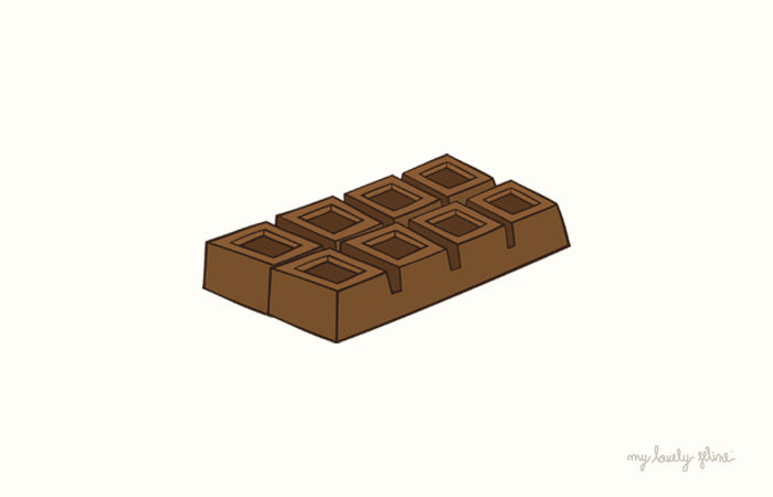 Illustration of a chocolate bar to explain why chocolate is not good for cats