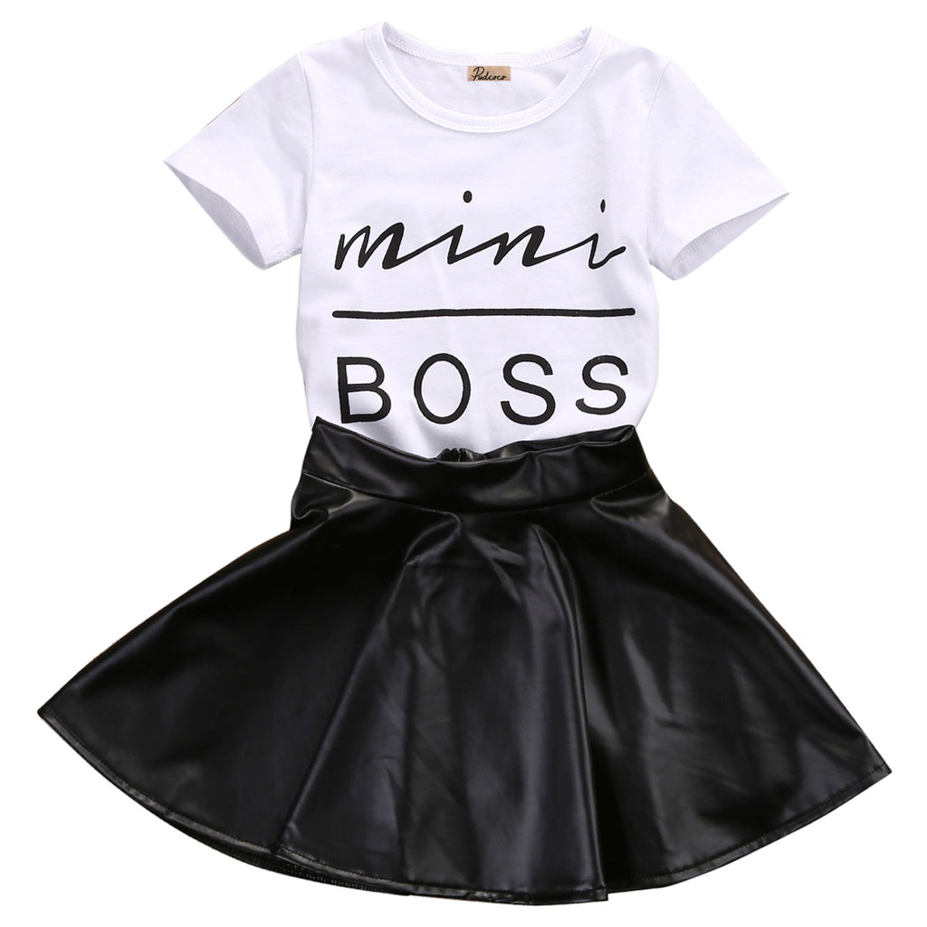 Mini Boss Tees Shirt + PU leather Skirt