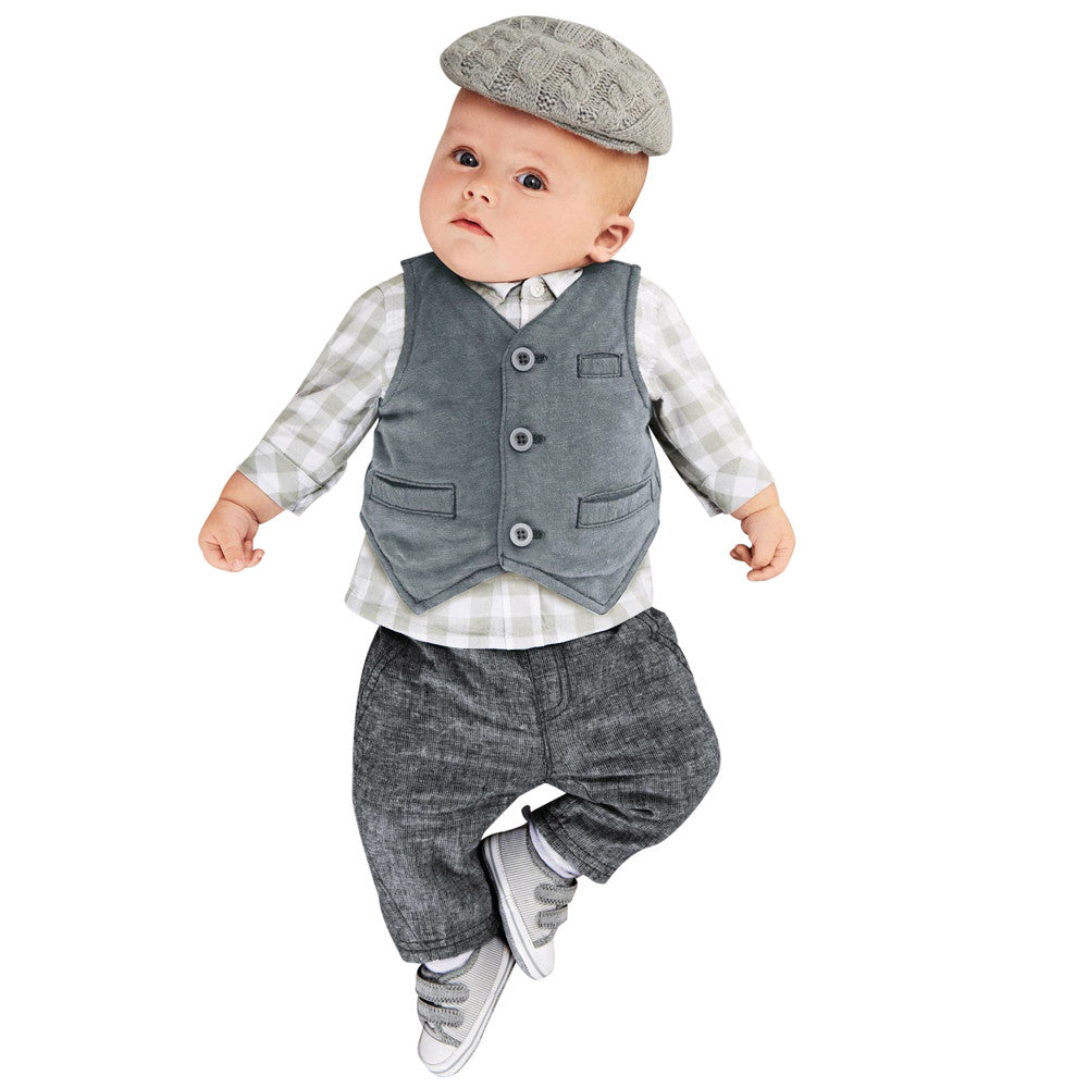 Little Gent's 3 Piece Pants, Plaid Shirt and Suit Vest Set