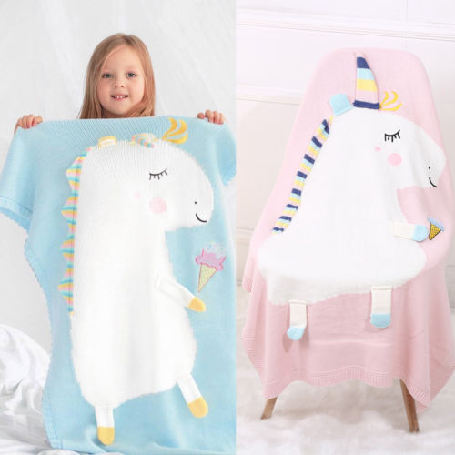 Toddler Infant Baby Fleece Blanket Pram Crib Basket Blue Pink Unicorn 105x75cm