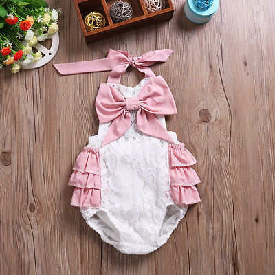 Bessy Lace And Pink Ruffle Romper