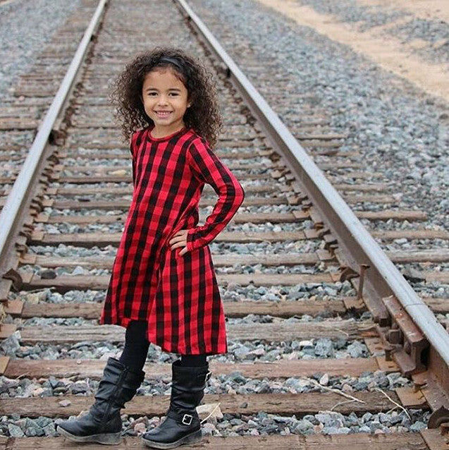 Ruby Long Sleeved Plaid Dress
