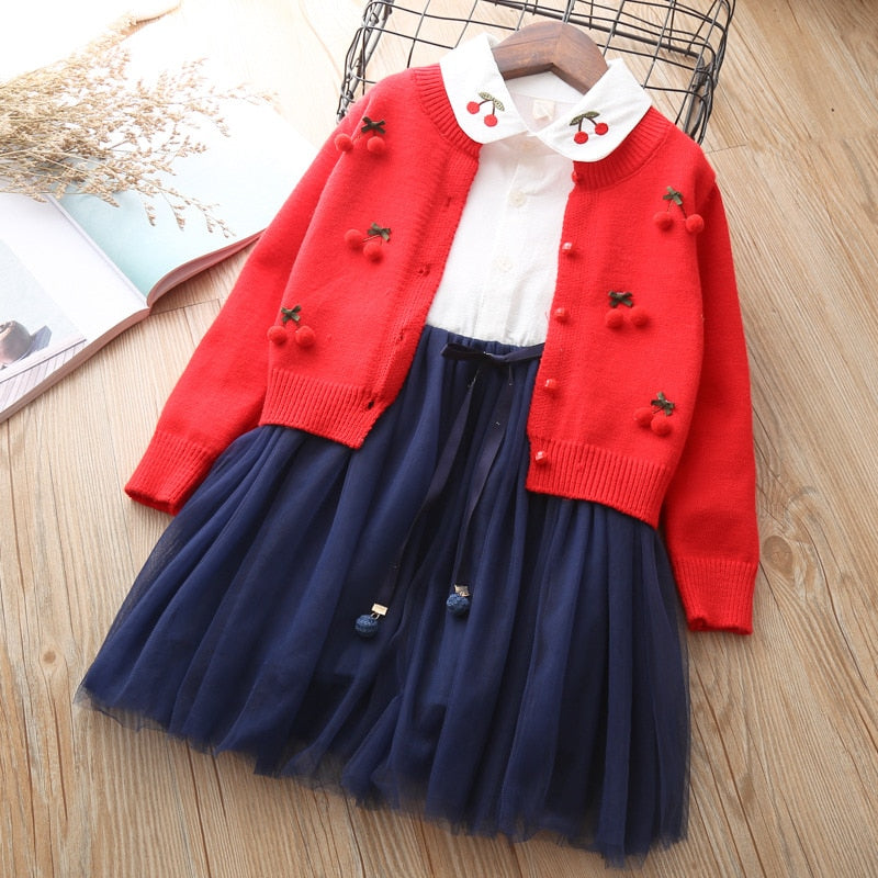 Tulle Dress with Cherry Knitted Cardigan