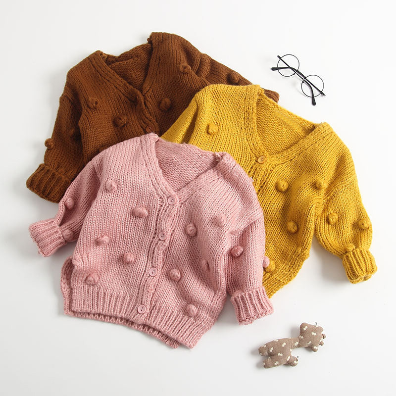 Pompom Cardigan Sweater