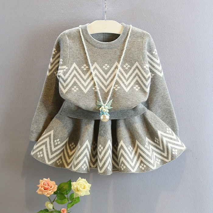 Gray Sweater + Skirt Set