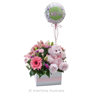Mixed floral box with balloon and teddy for a new baby girl