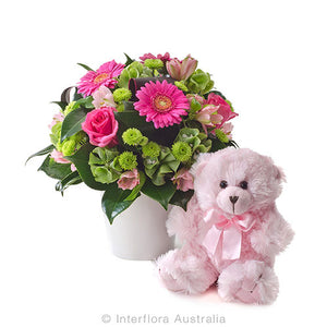 new baby flower arrangement teddy