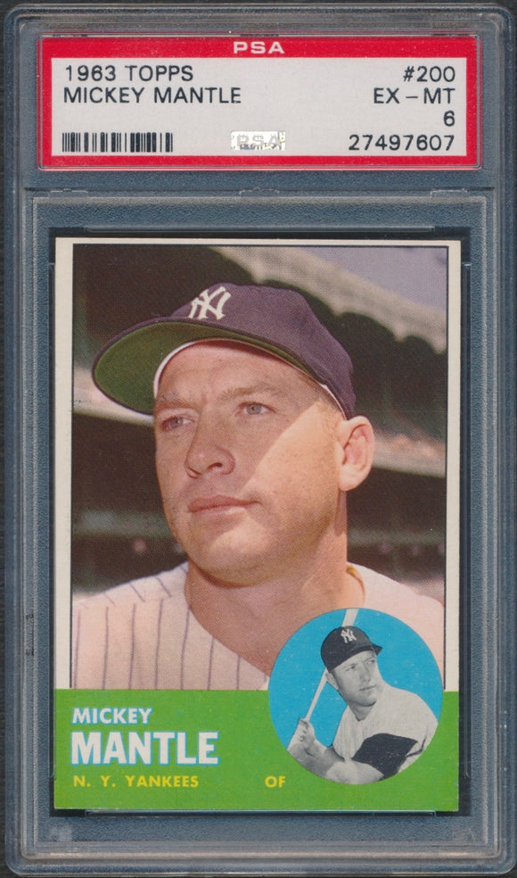 1963 Topps #200 Mickey Mantle Graded PSA 6 EX-MT