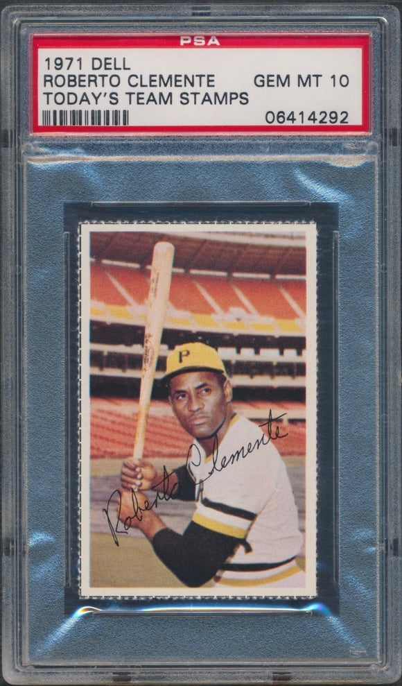 1971 Dell Stamps Roberto Clemente Graded PSA 10 Gem Mint
