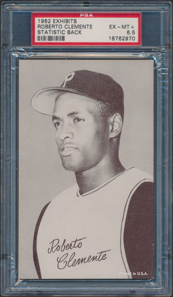 1962 Exhibits Roberto Clemente Stat Back Graded PSA 6.6 EX-MT+