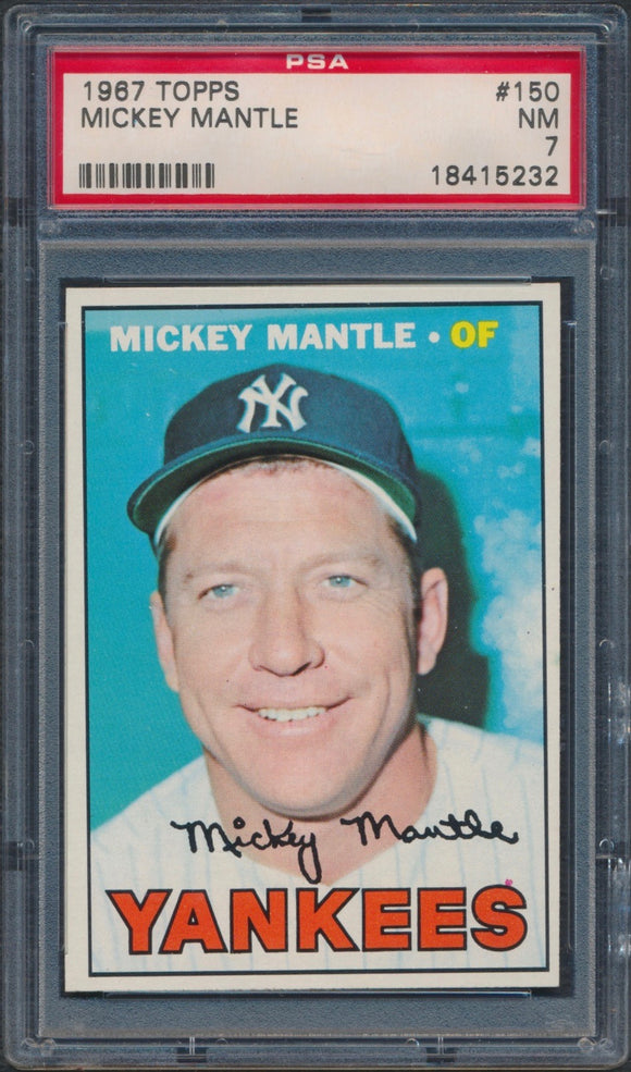 1967 Topps #150 Mickey Mantle Graded PSA 7 NM