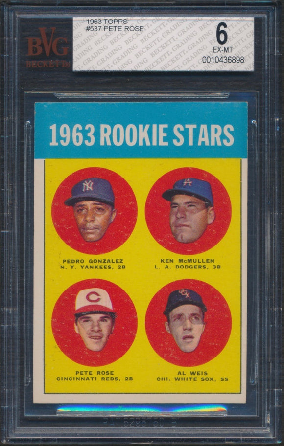 1963 Topps #537 Pete Rose Rookie Card Graded BVG 6 EX-MT