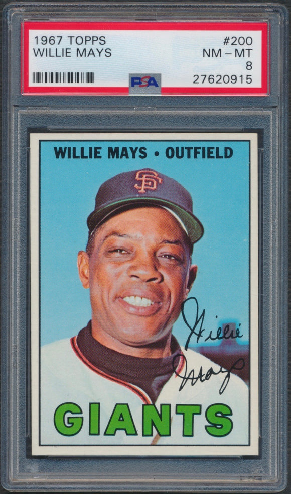 1967 Topps #200 Willie Mays Graded PSA 8 NM-MT
