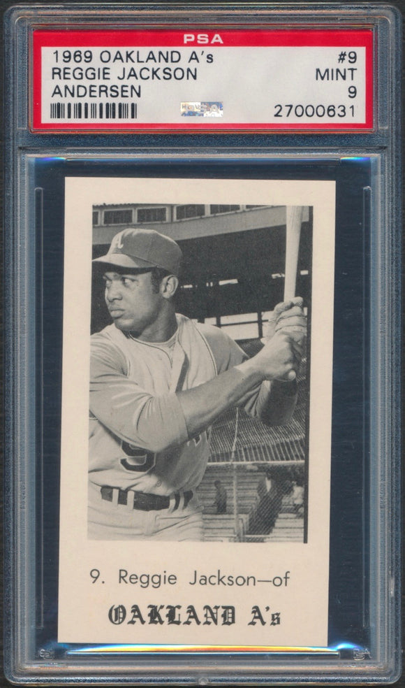 1969 Oakland A's Andersen Reggie Jackson Rookie Graded PSA 9 Mint (Pop 1 Highest Graded)