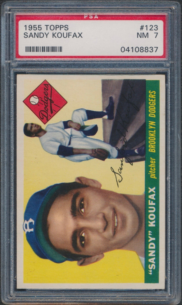 1955 Topps #123 Sandy Koufax Rookie Graded PSA 7 NM