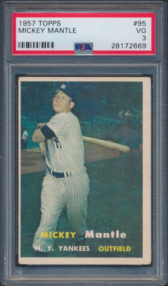 1957 Topps #95 Mickey Mantle Graded PSA 3 VG