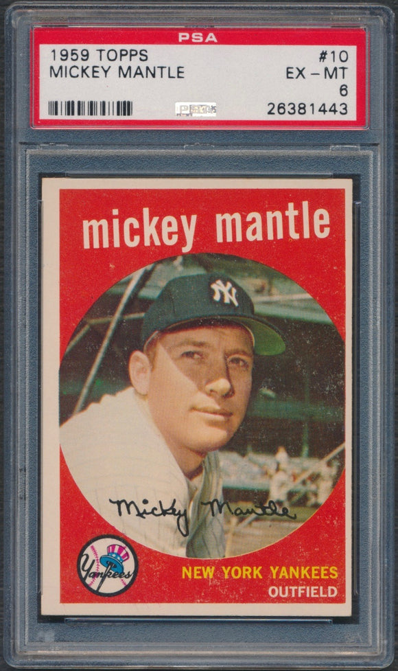 1959 Topps #10 Mickey Mantle Graded PSA 6 EX-MT