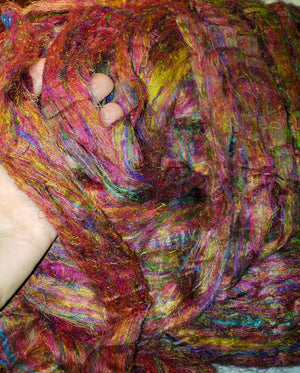 JUST IN TODAY! SALE!!   Pulled sari silk roving DAHLIA -  ONE OUNCE
