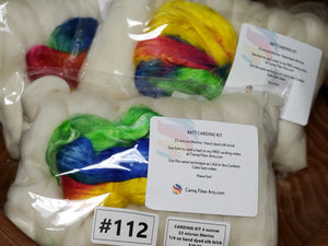 23 micron merino and hand dyed silk brick carding kit