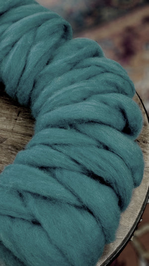 TEAL - Carded roving (woolen prep)  - 4-ounce pack