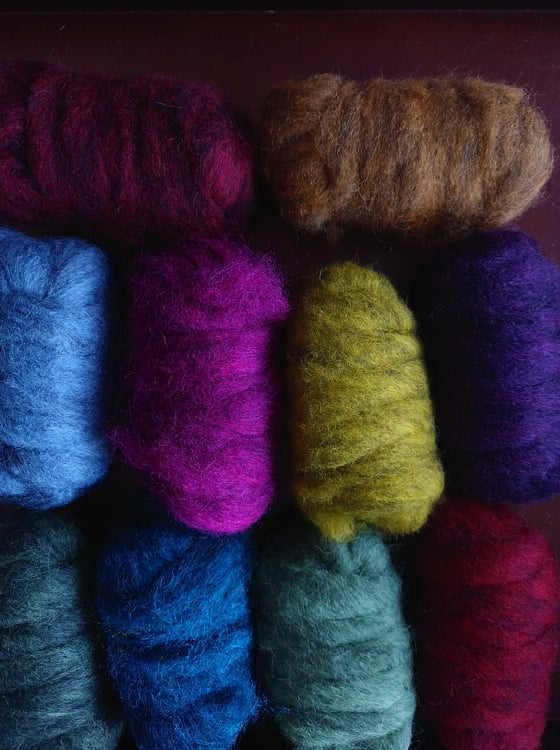 GROUP SALE - Carded Corriedale roving - LIGHT 'N DARK  - 1 pound ***please give 3 weeks for shipping***