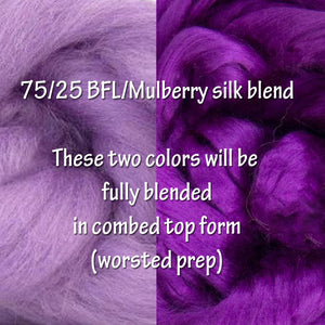 PRE-ORDER - PASSION - 75/25 dyed BFL/dyed mulberry silk blend - 1 OUNCE