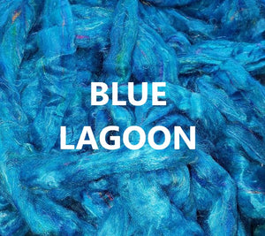 m - Pulled Sari Silk Waste Rovng -  BLUE LAGOON  - 1 ounce