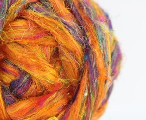 Pulled sari silk roving - CITRUS - 1 ounce - WAFA LIVE SALE!