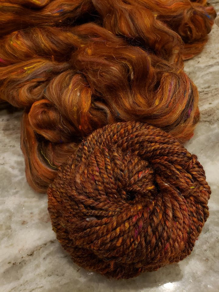 DETERMINATION - Corriedale and sari silk CUSTOM BLEND - FOUR OUNCE PACK