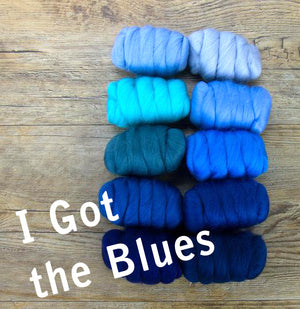 GROUP SALE - I GOT THE BLUES -  23 micron Merino FIBER JELLY BEANS -  1.1 pounds