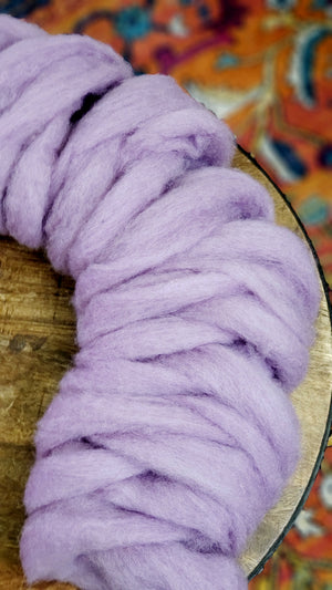 LAVENDER - Carded roving (woolen prep)  - 4-ounce pack