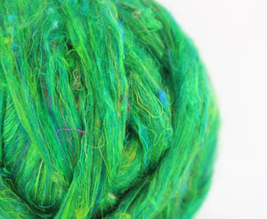 GROUP SALE  - *Give 3 weeks for delivery*  Sari silk waste roving- LILY PAD - 1 POUND