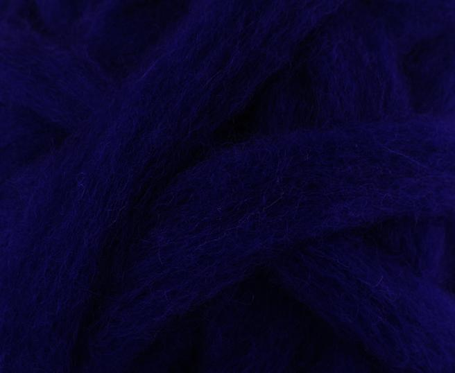 MIDNIGHT BLUE - Carded roving (woolen prep)  - 4-ounce pack