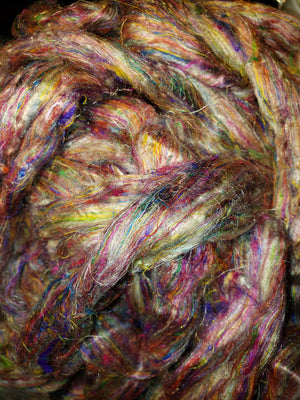 Pulled Sari silk roving - PEACE  - 1 ounce