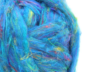 Pulled sari silk roving - SPACEMAN  - 1 ounce