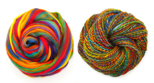 RAINBOW merino blended combed top  FOUR OUNCE PACK