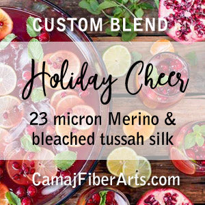HOLIDAY CHEER custom blend  23-micron Merino and a pop of bleached Tussah Silk  -  FOUR OUNCE PACK