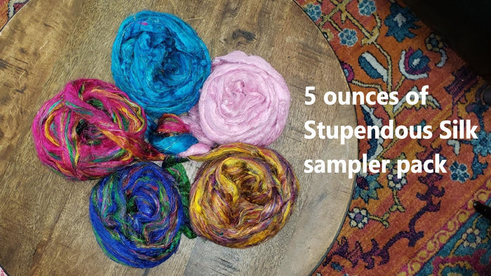 STUPENDOUS SILK - Pulled sari silk roving sampler pack - 5 ounces